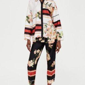Zara Floral Satin Pants Beautiful M Needs Tailor